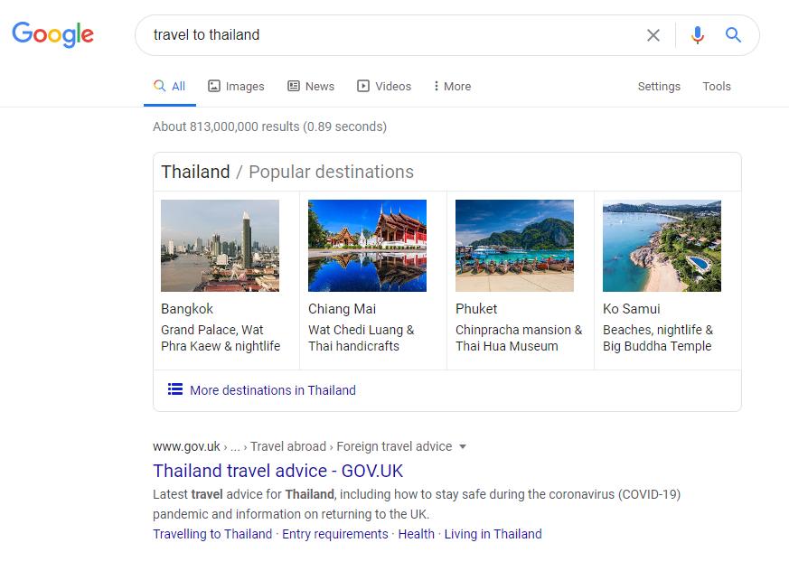 کوئری سفر به تایلند و تاثیر الگوریتم برت بر روی آن